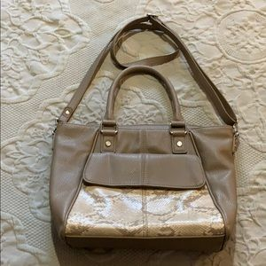 Thirty-one Taupe Purse with snakeskin detail